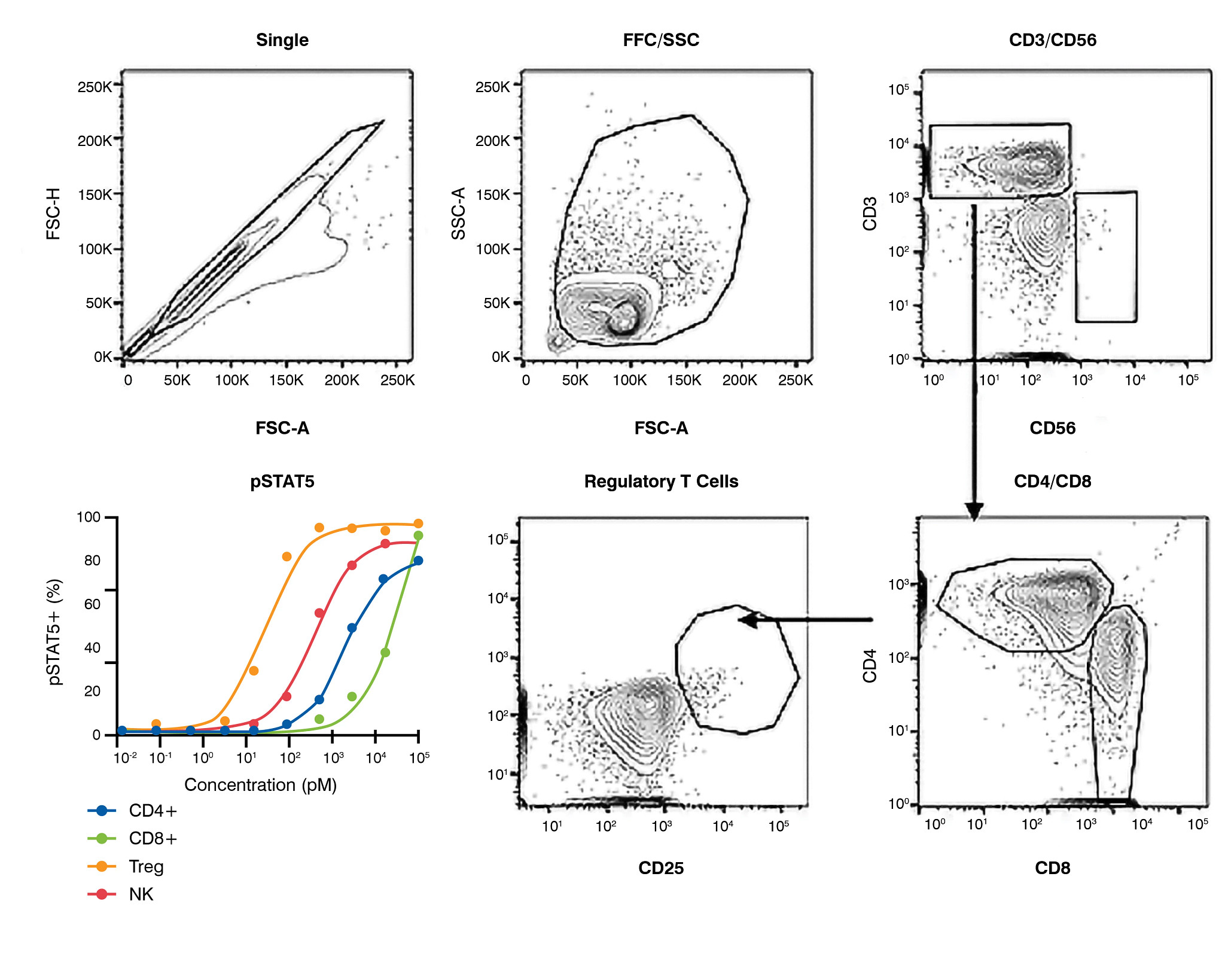 Flow cytometry graphs showing cellular responses in a heterogeneous population in IL-2 stimulation assays