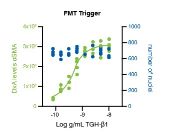 FMT trigger concentration response data from patient-derived fibroblasts, 72 hours post TGF-β1 trigger, from the Fibroblast-to-Myofibroblast Transition (FMT) Assay.