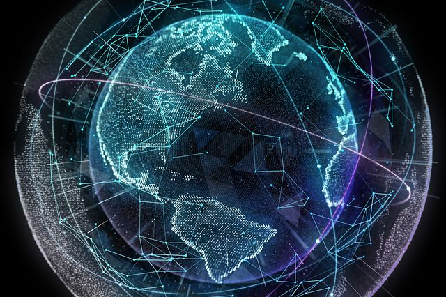 Abstract rendering of the world connected by technology.