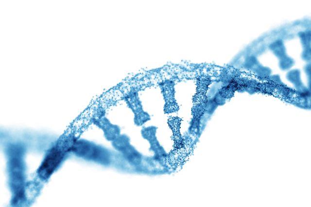 Representation of a blue double RNA helix molecular structure often seen during NanoString RNA analysis.