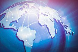 展示全球运输目的地的地球地图。