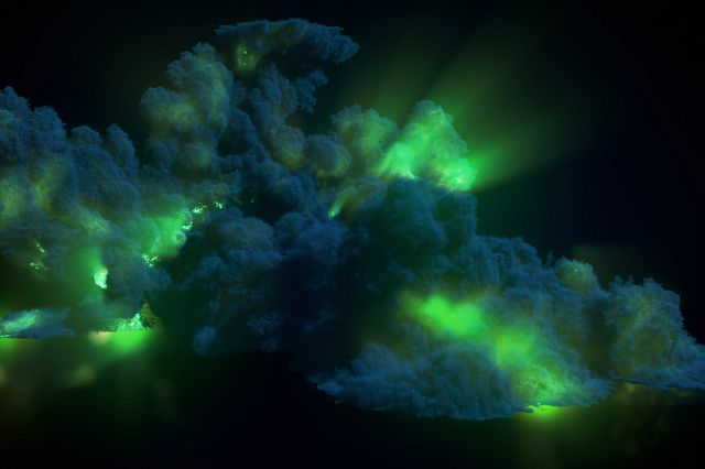 Large chemical green explosion with dark smoke