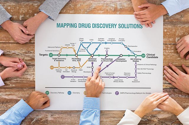 equipo de negocios en oficina en un grupo de reunión de mesa apuntando al mapa de descubrimiento de farmacos
