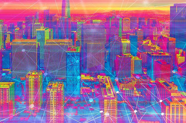 Technology neural network connectivity gradient San Francisco background