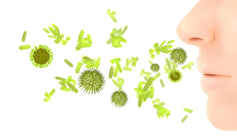 animated image of green microorganisms floating in front of a human nose