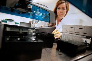 Lab technician demonstrating Endosafe Nexus Automated Endotoxin Testing