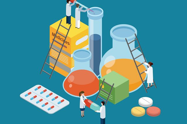 illustration pharmaceutical production symbolic isometric with lab researches climbing on medicine pills and beakers