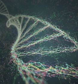 Dna helix connected by nodes and connections colored