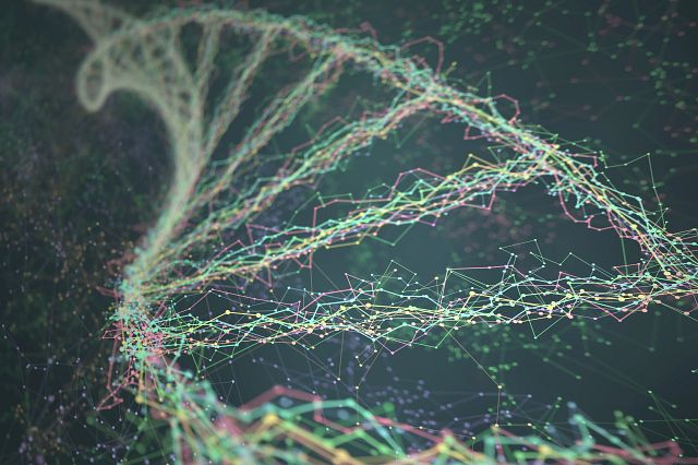 Image of DNA helix that can be used to identify an organism with sequencing data analysis