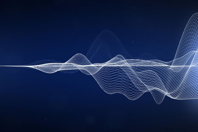 Illustration of white sound waves on dark blue background.